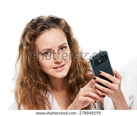 Relaxed woman at home with phone on white background