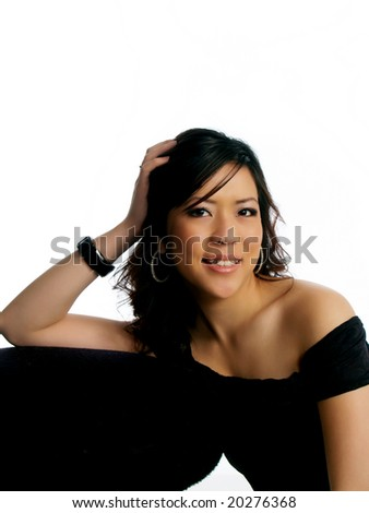 Relaxed young asian american woman portrait with smile