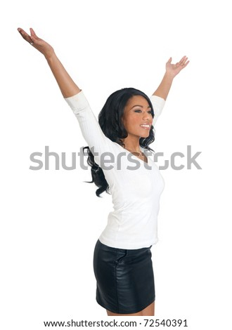 Relaxing African American Woman in white isolated background - stock photo