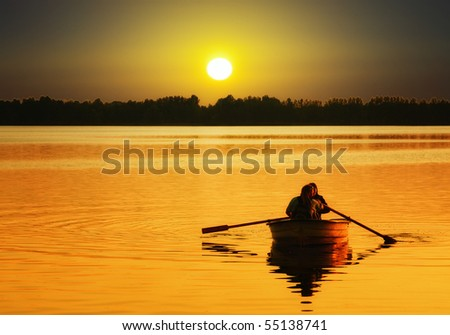 Relaxing at sunset - stock photo