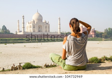 relaxing at taj mahal - stock photo