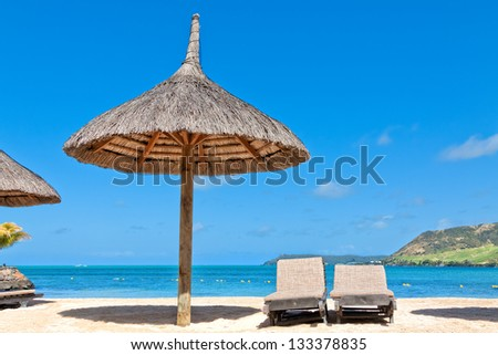 Relaxing at the beach, Mauritius, Africa - stock photo