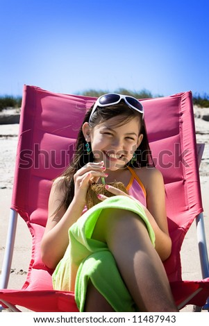 Relaxing at the ocean - stock photo