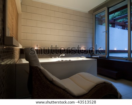 relaxing atmosphere in spa center - stock photo