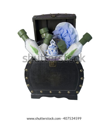 Relaxing Bath Salts with Scrubber and Oils in a vintage chest - path included - stock photo