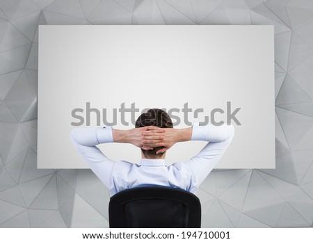 Relaxing businessman, blank whiteboard. - stock photo