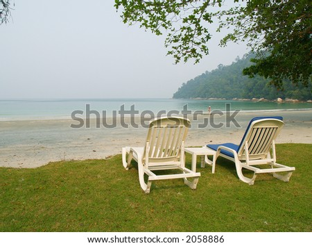 Relaxing chairs at the beach