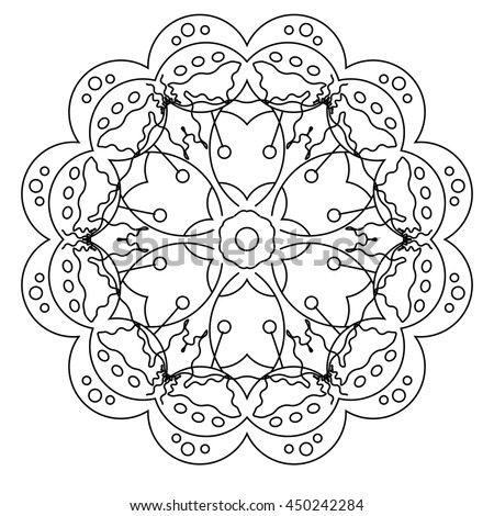 relaxing coloring page with mandala for kids and adult art therapy meditation coloring book - Art Therapy Coloring Pages Mandala
