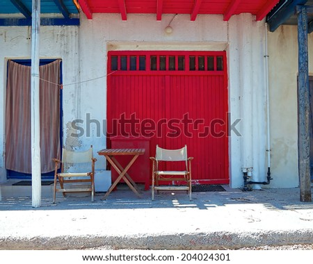 relaxing corner at the fisherman's house - stock photo