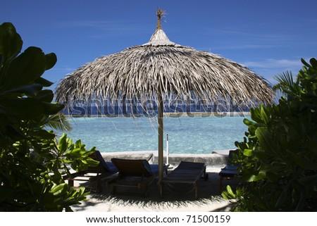 Relaxing holiday at Maldives - stock photo