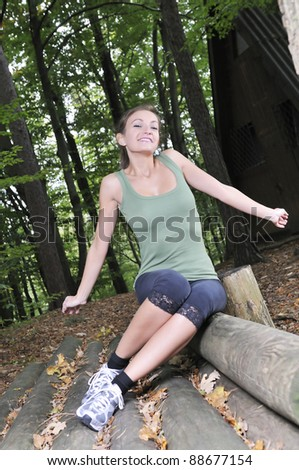 Relaxing in a forest - stock photo
