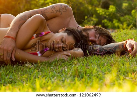 relaxing in meadow - stock photo