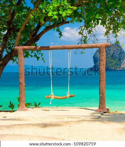 Relaxing in Pardise Holiday Memory - stock photo