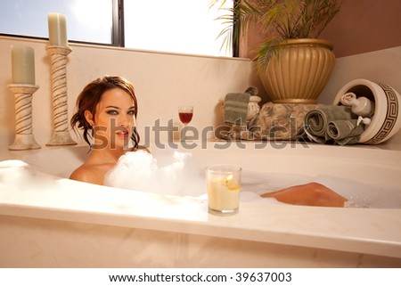 Relaxing in the bath - stock photo
