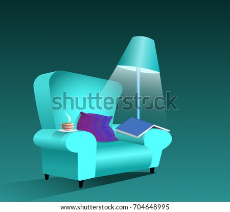 Relaxing interior scene of comfy chair under lamplight with open book, cup of tea or coffee and pillow or cushion 3d illustration, with cool turquoise hue.