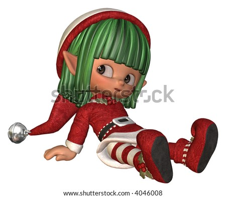 relaxing little christmas elf - stock photo