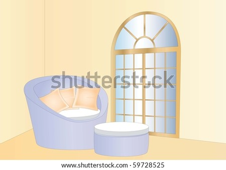 relaxing lounge and window - stock photo