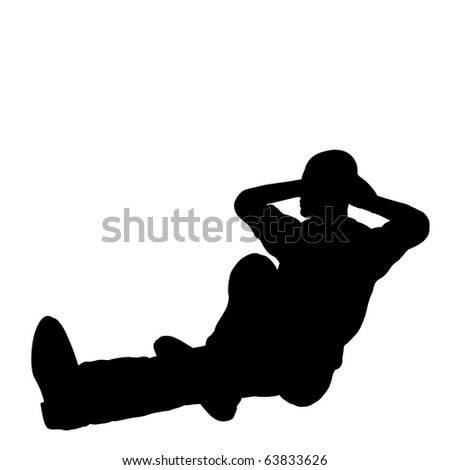 Relaxing man silhouette illustration - stock photo