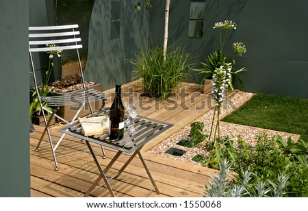 Relaxing modern garden space - stock photo