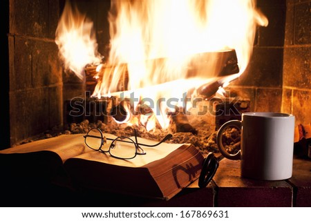 Relaxing near the fireplace - stock photo