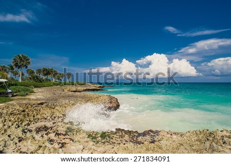 Relaxing on remote Tropical Paradise beach in Dominican Republic or Seychelles, Caribbean, Mauritius or Philippines, Bahamas.   . - stock photo