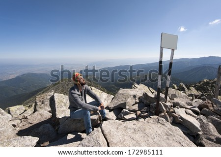 Relaxing over mountains - stock photo