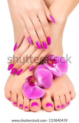 Relaxing pink manicure and pedicure with a orchid flower - stock photo