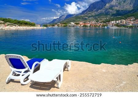 Relaxing place near the Adriatic sea coast, Makarska, Croatia - stock photo