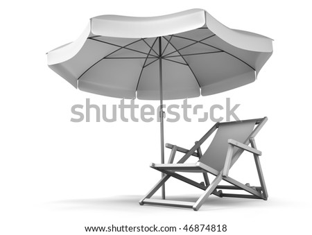 Relaxing Place. Single deck chair and umbrella isolated on white background. 3D rendered image. (Black and white image version) - stock photo