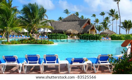 Relaxing pool in Caribbean - stock photo