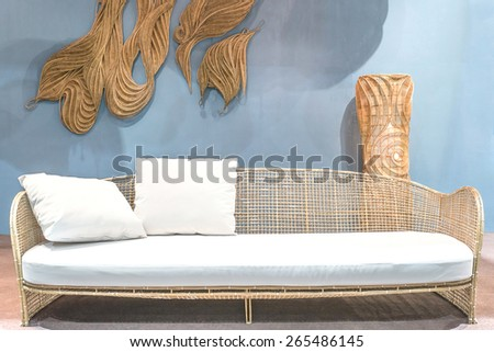 Relaxing Rattan Sofa in living room - stock photo