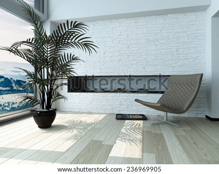 Relaxing Single Gray Chair and Palm Plant Ornament on Pot in front Glass Window Inside Architectural White House. 3D Rendering.  - stock photo