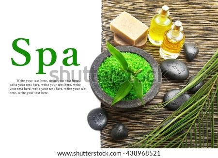 Relaxing spa composition on cotton mat, close up - stock photo