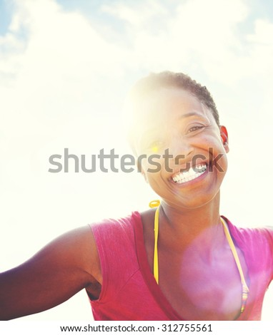 Relaxing Tropical Beach Woman Young Concept - stock photo