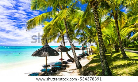 Relaxing tropical scenery - palm beaches of Mauritius island