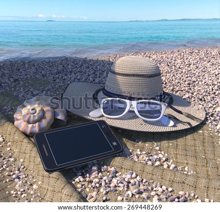 relaxing vacation concept background with seashell, iphone and beach accessories - stock photo