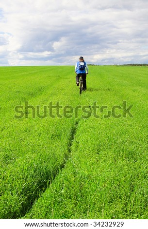 relaxing with cycling - stock photo