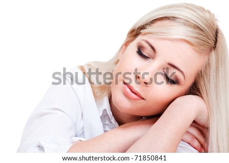Relaxing woman with her eyes closed