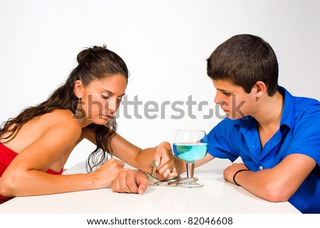 Releasing the heavy handcuffs to alcohol addiction - stock photo