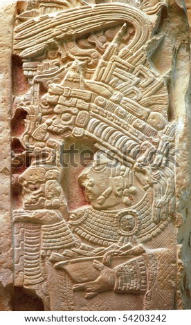 Relief in ruins of Yachilan Mexico - stock photo