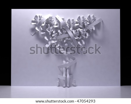 Relief man with many foots. 3D sculpture. - stock photo