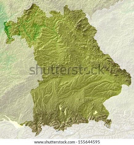 relief map Bavaria, Germany - stock photo