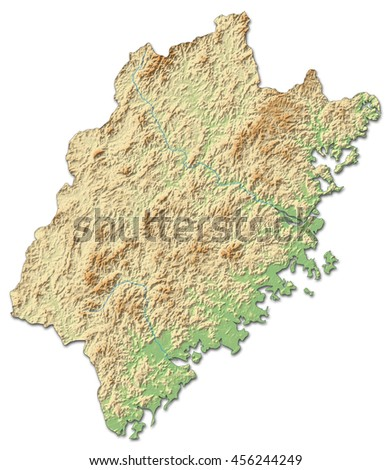 Relief map - Fujian (China) - 3D-Rendering - stock photo