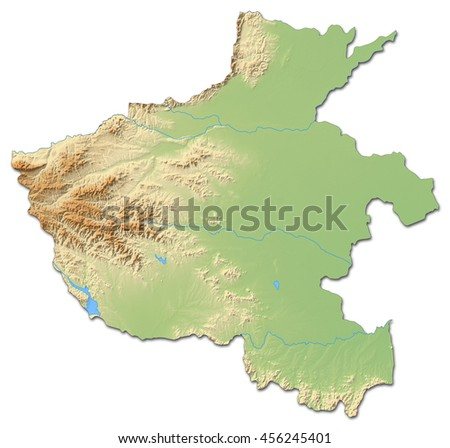Relief map - Henan (China) - 3D-Rendering - stock photo