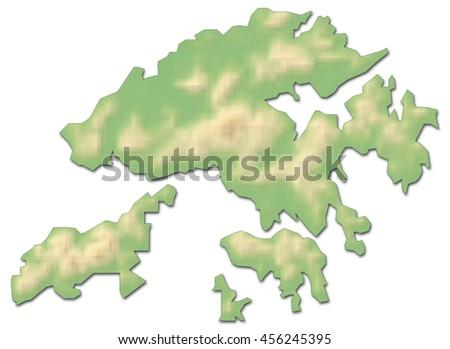 Relief map - Hong Kong (China) - 3D-Rendering - stock photo