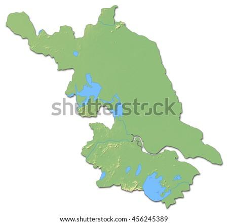 Relief map - Jiangsu (China) - 3D-Rendering - stock photo
