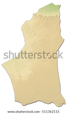 Relief map - Nalut (Libya) - 3D-Rendering