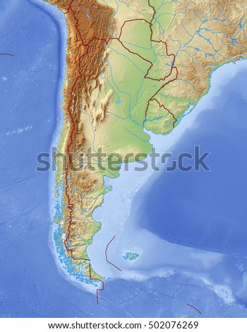 Argentina Shaded Relief Map Major Urban Stock Illustration - Argentina 3d map