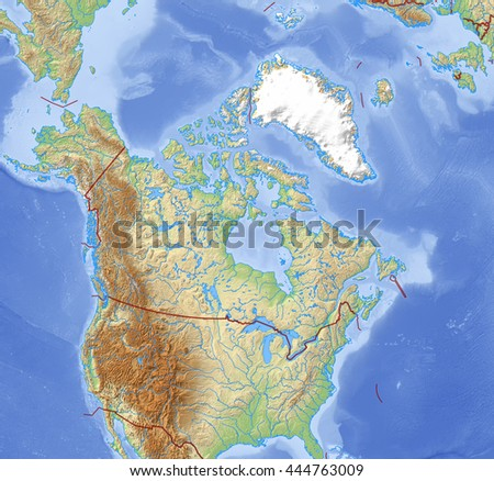 Relief Map Norway Drendering Stock Illustration - Relief map of canada