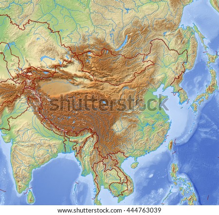 Relief Map of China - 3D-Illustration - stock photo